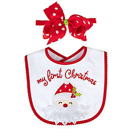 Baby Essentials 2-Piece First Christmas Bib and Headband Bow Set in Red
