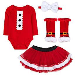 Baby Essentials® Santa 4-Piece Bodysuit, Tutu, Leg Warmers, and Headband Set