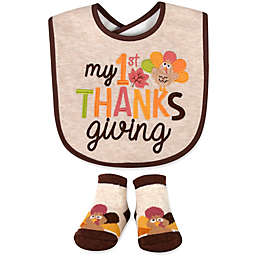 """Baby Essentials 2-Piece """"My 1st Thanksgiving"""" Bib and Bootie Set in Oatmeal"""