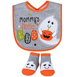 "Baby Essentials 2-Piece ""Mommy's Little Boo"" Bib and Bootie Set in Grey"