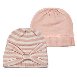 NYGB™ 2-Pack Solid and Striped Knit Hats in Pink