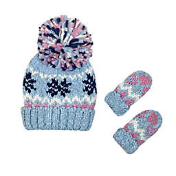 Toby Fairy™ Snowflake Jacquard Hat and Mitten Set in Blue