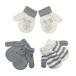 Toby Fairy™ Size 12-24M 3-Pack Snowflake Gripper Mittens in Grey