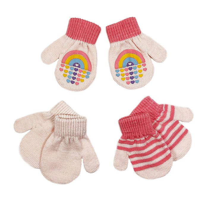 Alternate image 1 for Toby Fairy™ Size 12-24M 3-Pack Rainbow Gripper Mittens in Pink