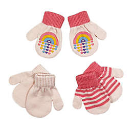 Toby Fairy™ Size 12-24M 3-Pack Rainbow Gripper Mittens in Pink