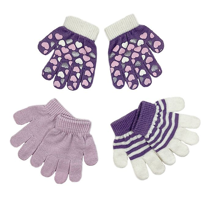 Alternate image 1 for Toby Fairy™ Size 2T-4T 3-Pack Hearts Gripper Mittens in Lavender