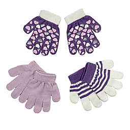 Toby Fairy™ Size 2T-4T 3-Pack Hearts Gripper Mittens in Lavender