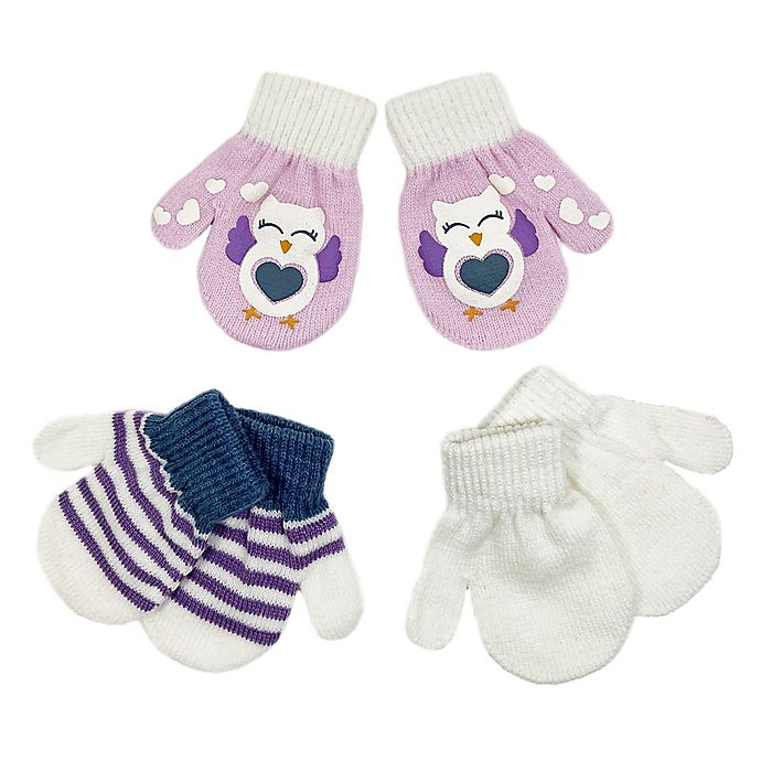 Alternate image 1 for Toby Fairy™ Size 12-24M 3-Pack Owl Gripper Mittens in Lavender