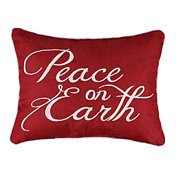 """Levtex Home® Joyeux Noel """"Peace on Earth"""" Oblong Throw Pillow in Red"""