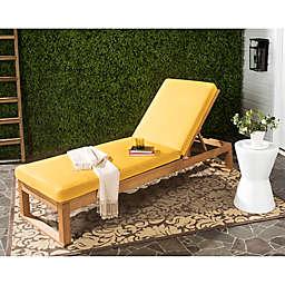 Safavieh Solano Sun Lounger with Cushion in Teak Brown/Yellow