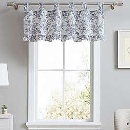 Laura Ashley® Annalise Floral Tab Top Window Valance in Shadow Grey