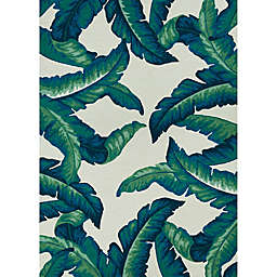"""Couristan Covington Palm Leaves 5'6"""" x 8' Indoor/Outdoor Area Rug in Green"""