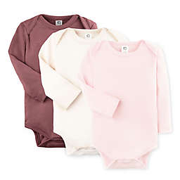 Colored Organic 3-Pack Organic Cotton Long Sleeve Bodysuits
