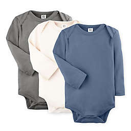 Colored Organic Size 0-3M 3-Pack Organic Cotton Long Sleeve Bodysuits in Steel