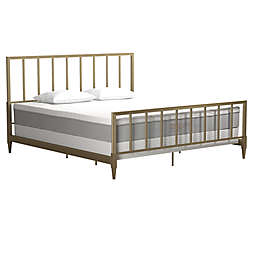 Cosmo Living Blair King Metal Bed Frame in Brass