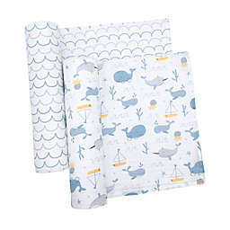 Living Textiles Baby 2-Pack Whale of a Time Cotton Muslin Swaddle/Stroller Blankets