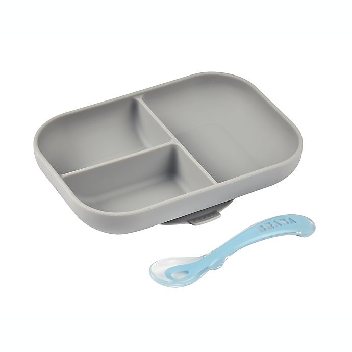 Alternate image 1 for BEABA® 2-Piece Silicone Suction Meal Set in Cloud