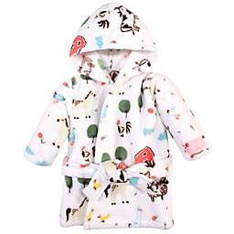 Hudson Baby® Suze 0-8M Farm Plush Hooded Bathrobe