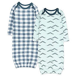 The Honest Company® Size 0-6M 2-Pack Cotton Sleeper Gowns in Painted Buffalo Navy Blue