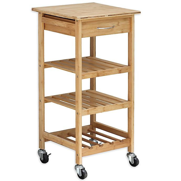 Alternate image 1 for Oceanstar Bamboo Rolling Kitchen Cart in Natural