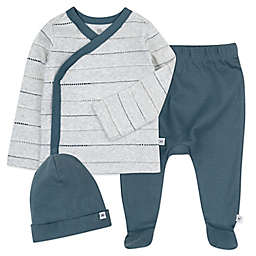The Honest Company® 3-Piece Dotted Stripe Side Snap Top, Pant and Beanie Set in Grey