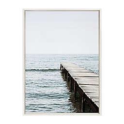 DesignOvation Sylvie Lake Pier Framed Canvas Wall Art