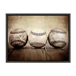 DesignOvation Sylvie Three Vintage Baseballs Framed Canvas Wall Art