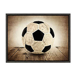 DesignOvation Sylvie Vintage Soccer on Wood Framed Canvas Wall Art