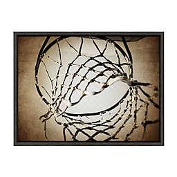 DesignOvation Sylvie Vintage Basketball Net Framed Canvas Wall Art