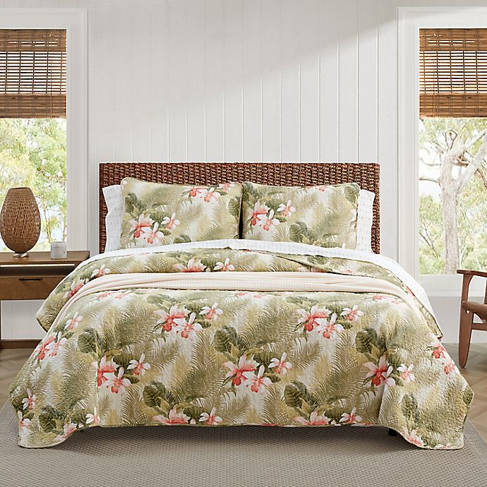 Alternate image 1 for Tommy Bahama® Tropical Orchid Reversible Quilt Set in Green