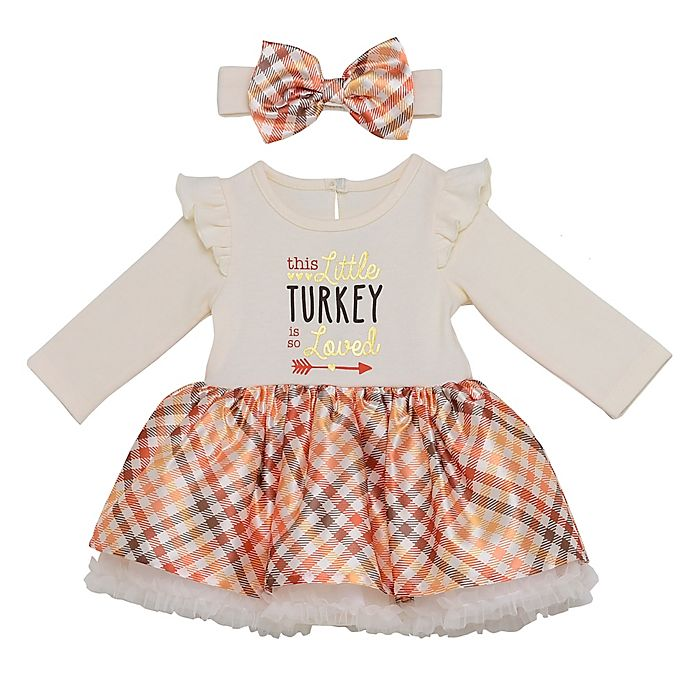 Alternate image 1 for Baby Starters® 2-Piece Loved Little Turkey Thanksgiving Dress and Headband Set