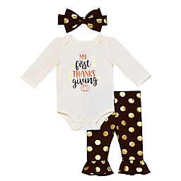 Baby Starters® 3-Piece Dot Thanksgiving Bodysuit, Pant, and Headband Set