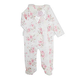 Clasix Beginnings™ by Miniclasix® Newborn Floral Printed Footed Coverall in Ivory