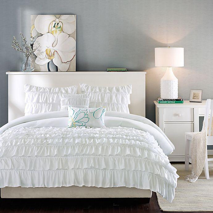 Alternate image 1 for Intelligent Design Waterfall Reversible 5-Piece Full/Queen Comforter Set in White