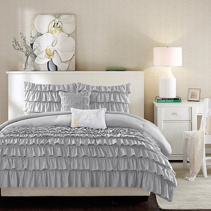 Alternate image 1 for Intelligent Design Waterfall Full/Queen Comforter Set in Grey