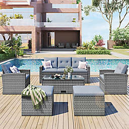 Boyel Living 6-Piece Wicker Patio Furniture Set in Light Grey