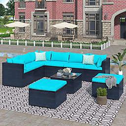 Boyel Living 9-Piece Wicker Patio Conversation Set in Blue