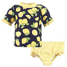 Hudson Baby® 2-Piece Lemons Rashguard and Swim Trunk Set in Navy/Yellow