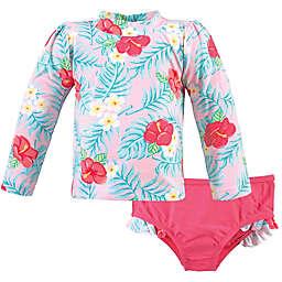 Hudson Baby® Tropical Rashguard and Swim Trunk Set in Pink