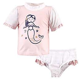 Hudson Baby® 2-Piece Mermaid Rashguard and Swim Trunk Set in Pink