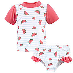 Hudson Baby® 2-Piece Watermelon Rashguard and Swim Trunk Set in Pink