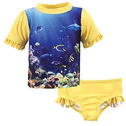 Hudson Baby® Reef Girl's Rashguard and Swim Trunk Set in Yellow/Blue