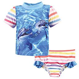 Hudson Baby® Size Dolphin Girl's Rashguard and Swim Trunk Set in Blue