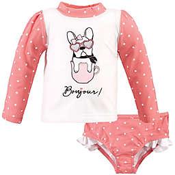 Hudson Baby® 2-Piece Bonjour Rashguard and Swim Trunk Set in Pink