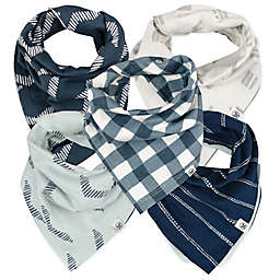 The Honest Company® 5-Pack Buffalo Check Reversible Bandana Bib Burp Cloths in Blue/White