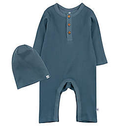 The Honest Company® 2-Piece Organic Cotton Rib Coverall and Beanie Set in Grey