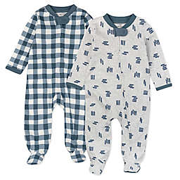 The Honest Company® 2-Pack Buffalo Check Organic Cotton Sleep & Plays in Navy