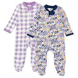 The Honest Company® Newborn 2-Pack Buffalo Check Organic Cotton Sleep & Plays in Purple