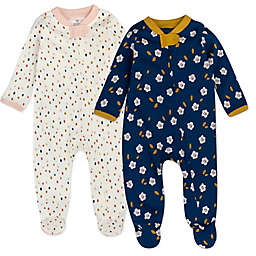 The Honest Company® 2-Pack Falling Flowers Organic Cotton Sleep & Plays in Navy