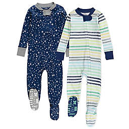 The Honest Company® Size 24M 2-Pack Rainbow Stripe Organic Cotton Footed Pajamas
